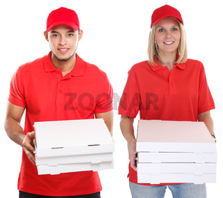 Pizza delivery woman man order delivering job young isolated on white