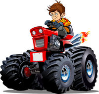 Vector Cartoon Tractor isolated on white background