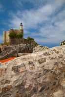 Detail of castle and lighthouse, Castro Urdiales, Cantabria, Spain