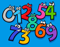 basic numbers cartoon characters group