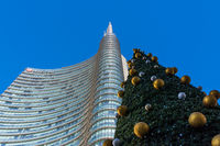 Uni Credit Tower Business Area Milan Italy Destination Travel SIghtseeing Modern Glass Buildings, Tallest Skyscraper in Italy Famous During Winter Blue Skies 2016