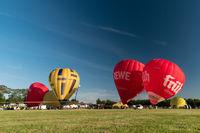KIEL, GERMANY - JUNE 22, 2019: During the Kieler Woche 2019 Hot Air Balloons take off at the International Willer Balloon Sail.  Illustrative editorial