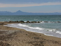 Les Marines beach on a cloudy winter day. View from Denia, Spain.