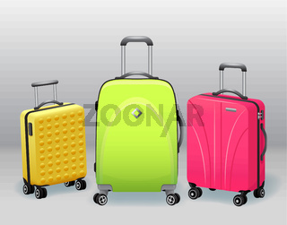 Business and family vacation travel luggage with handbag baggage modern and retro items collection realistic vector illustration
