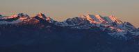 High mountains in the Bernese Oberland at sunrise. Bluemlisalp Range. View from Mount Niederhorn, Beatenberg.
