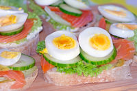 Sandwich buffet with salmon and eggs