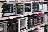 Brand new gas stove panels at appliance store
