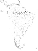 World Map of SOUTH AMERICA: Latin America, Argentina, Brazil, Peru, Patagonia, Amazon River. Geographic chart.