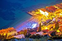 Banje beach in Dubrovnik aerial evening view