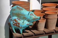 Ornamental pigs and garden pots