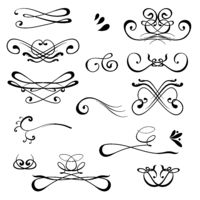 Vintage Calligraphic Design Elements. Set of Decors and Dividers. Old Vignette Collection. Decorative Ornamental Swirls.