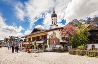 Street in Garmisch-Partenkirchen in Germany