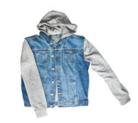 Jeans vest with hoodie.
