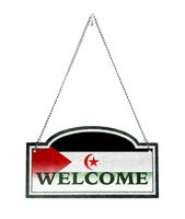 Western Sahara welcomes you! Old metal sign isolated