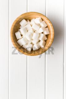 Sweet white sugar cubes.