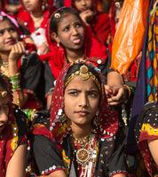 Indian girls at a camel fair in Pushkar