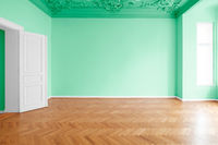 green painted room, apartment renovation with colorful walls -
