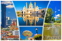 Vienna postcard city architecture and nature view with label