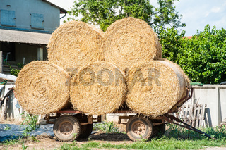 Farm cart with hay bales