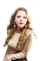 Full portrait of beautiful caucasian blonde girl
