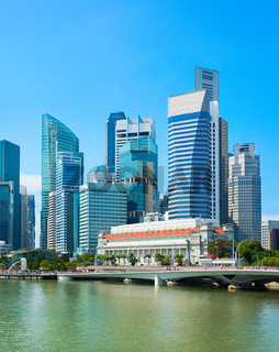 Cityscape Singapore financial district view