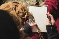 Girl painter draws a pencil in a notebook on nature in the mountains. Free creativity and freelancing