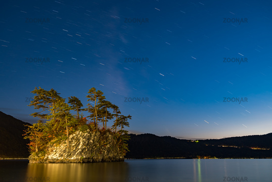 Lake Towada with milky way