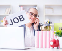 Businesswoman resigning from her job