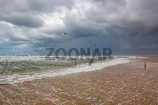 Favourite Lakolk beach for kiteboarding, surfing etc. Jutland, Denmark