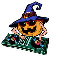 Halloween pumpkin DJ character. isolate on white background