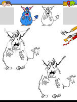 drawing and coloring worksheet with monster