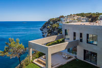 Modern interior by the sea. Outdoor architecture with a fantastic view