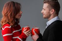 Couple in love with cups