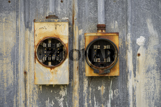 Ancient Vintage Rusted Outdoor Electrical Fuses Boxes Holders Eroding