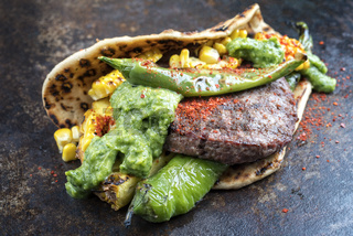 Barbecue wagyu hash burger with flatbread