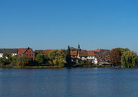 View to the lake called Juessee in the german city Herzberg im Harz