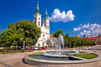 Church and fountain in Sombor street view