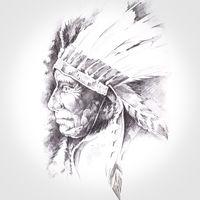 american indian head, handmade tattoo drawing