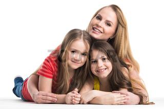 Mother and daughters islated