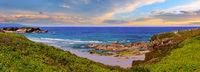 Summer blossoming Atlantic evening coastline, Spain