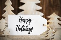 Christmas Tree, Label With English Text Happy Holidays