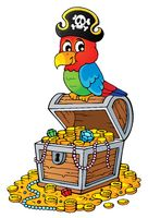 Pirate parrot on treasure chest topic 2