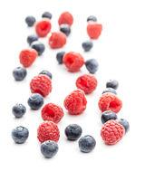 Blueberries and raspberries. Tasty mix of berries.