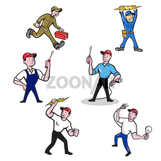 Electrician Cartoon Set