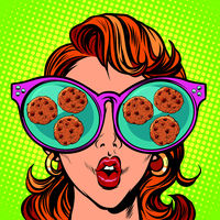 chocolate chip cookies. Woman reflection in glasses