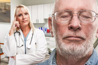 Empathetic Doctor Standing Behind Troubled Senior Adult Man In Office