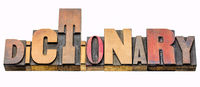 dictionary - isolated word abstract in wood type
