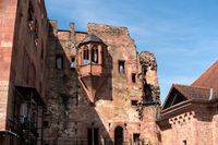 HEIDELBERG, GERMANY - JUNE 01, 2019: Heidelberg Castle is a ruin in Germany and landmark of Heidelberg. The castle ruins are among the most important Renaissance structures north of the Alps.  illustrative editorial