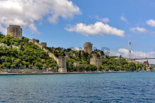 Ancient walls on the Bosphorus at Istambul