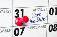 Wall calendar with a red pin - August 31